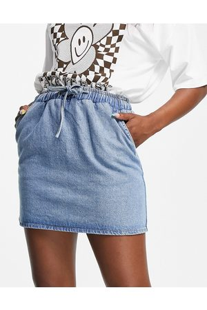 ASOS Denim pull on skirt in midwash-Blue