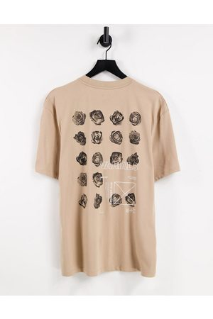 River Island T-shirt with floral back print in stone-Brown