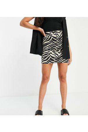 Reclaimed Vintage Inspired relaxed mom denim skirt in zebra print co-ord-Multi