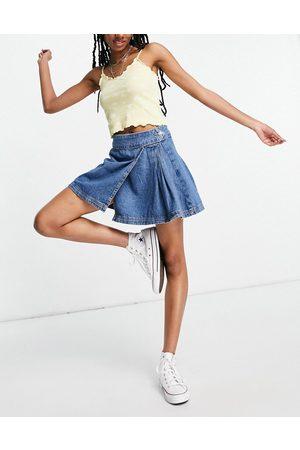 Topshop Denim tennis skirt in mid blue