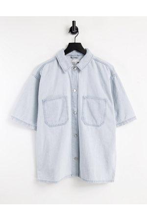 Topshop Lightweight shirt in bleach-Blue