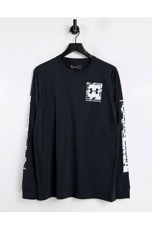 Under Armour Box logo stretch long sleeve top in black and white