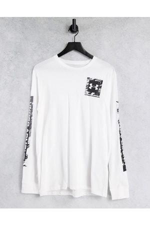 Under Armour Box logo stretch long sleeve top in white and black