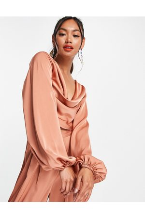 ASOS Co ord long sleeve blouse with strap detail and cowl back-Pink
