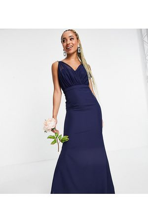 Missguided Bridesmaid bandeau gown with organza detail in pale blue-Navy