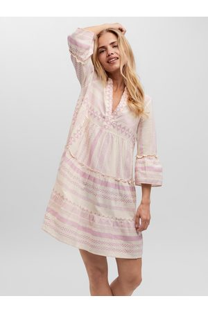 VERO MODA Růžovo-krémové vzorované volné šaty Dicthe