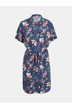 ONLY Tmavě modré květované košilové šaty Nova
