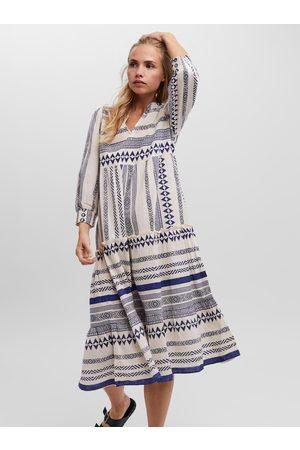 VERO MODA Modro-krémové vzorované midi šaty Ditche