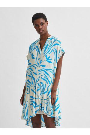 SELECTED Modro-bílé vzorované šaty Tessi