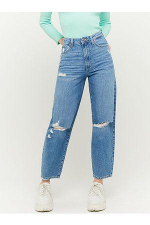 Tally Weijl Modré zkrácené straight fit džíny s potrhaným efektem