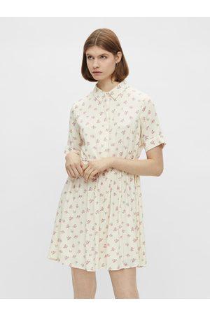 Pieces Krémové květované košilové šaty Thea