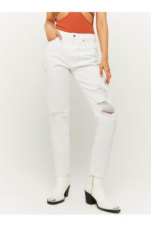 Tally Weijl Bílé slim fit džíny s potrhaným efektem