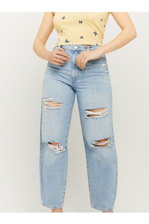 Tally Weijl Světle modré zkrácené straight fit džíny s potrhaným efektem