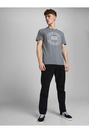 JACK & JONES Muži Rovné nohavice - Černé straight fit džíny Chris