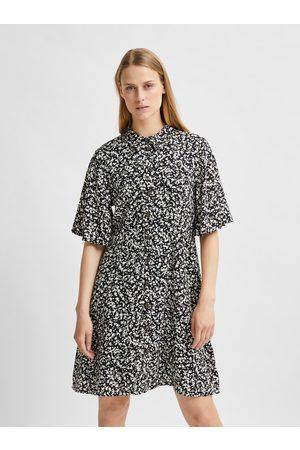 SELECTED Černé vzorované košilové šaty Uma
