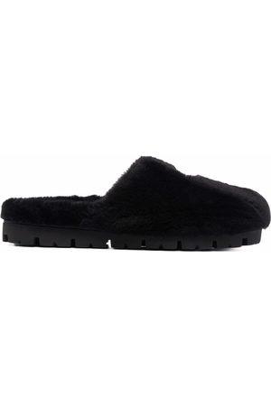 Prada Triangle logo fur slippers