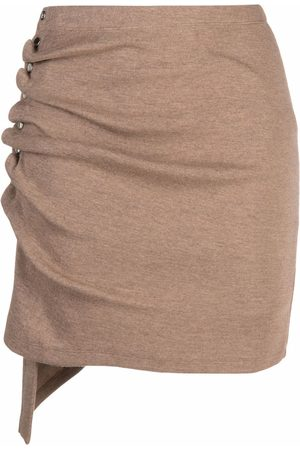 Paco Rabanne Asymmetric-ruched fine-knit skirt