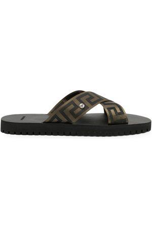 Versace Greca-pattern crossover-strap sandals