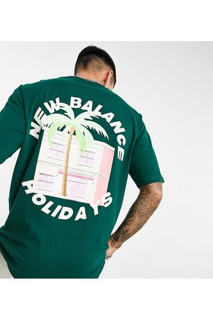 New Balance Palm tree t-shirt with backprint in green - exclusive to ASOS