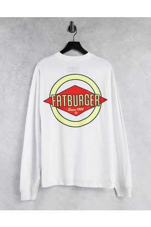 ASOS Oversized long sleeve t-shirt with Fatburger print in white