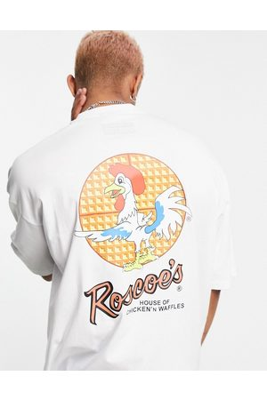 ASOS Oversized t-shirt with Roscoes House of Chicken' N Waffles print in white