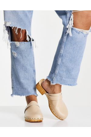 ASOS Moon leather clog mules in buttermilk-Neutral