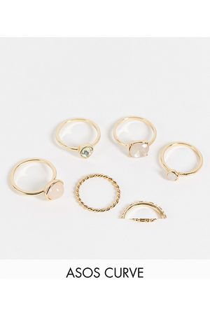 ASOS Curve ASOS DESIGN Curve pack of 6 rings with pastel coloured stones in gold tone