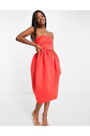 ASOS Bandeau tuck top bubble skater skirt midi dress in red-Multi