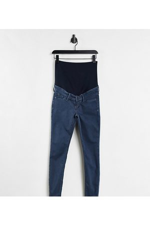 River Island Molly overbump skinny jeans in credence wash blue