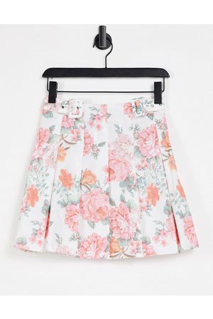 ASOS DESIGN Mini pleated cotton tennis skirt in floral print-Multi