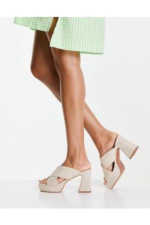 ASOS DESIGN Ženy S otevřenou špičkou - Hail cross strap platform heeled mules in natural fabrication-Neutral