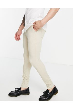 ASOS DESIGN Skinny smart trouser in stone waffle-Neutral