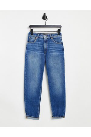 ASOS DESIGN Ženy S vysokým pasem - High rise farleigh 'slim' mom jeans in authentic midwash-Blue