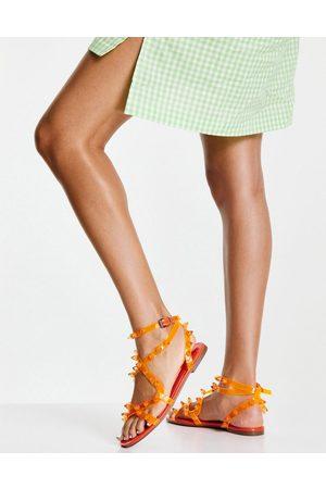 ASOS DESIGN Ženy Sandály - Font clear strappy studded sandals in orange