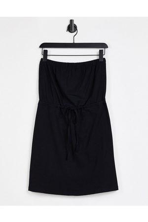 ASOS DESIGN Mini bandeau sundress with drawstring waist in black