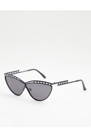 Jeepers Peepers Frame detail cat eye sunglasses in black gunmetal