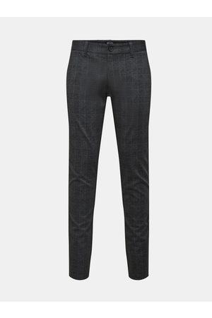 ONLY & SONS Tmavě šedé kostkované kalhoty Mark