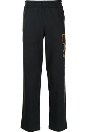 EA7 Logo-print cotton track trousers