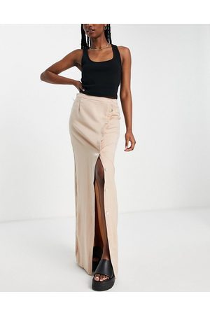 Lola May Ženy Maxi - Wrap maxi skirt with buttons in champagne-Neutral