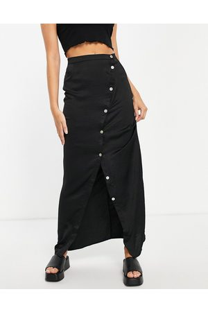 Lola May Ženy Maxi - Wrap midi skirt with buttons in black