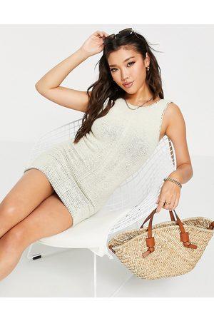 ASOS Crinkle beach dress in natural-White