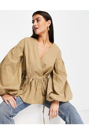 ASOS Oversized wrap smock top with blouson sleeve in camel-Neutral