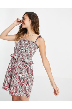 Topshop Shirring playsuit in red paisley