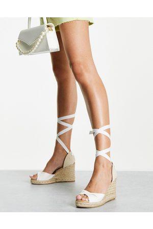 New Look Tie up espadrille wedge heel sandal in white