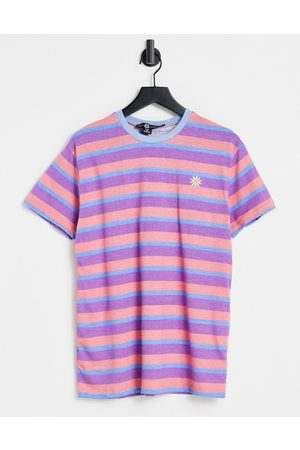 Daisy Street Relaxed t-shirt in retro stripe with daisy embroidery-Pink