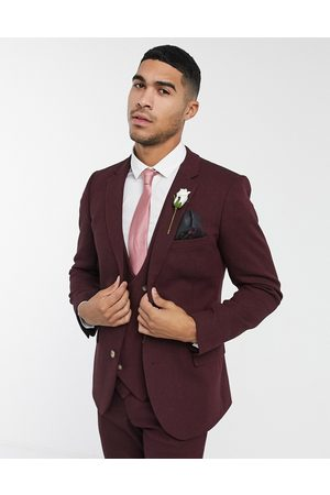 ASOS Wedding super skinny wool mix wool mix suit jacket in burgundy twill-Red