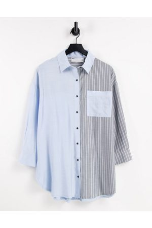 ASOS Laundered Solid & Stripe Suit Oversized Tailored Shirt-Blue