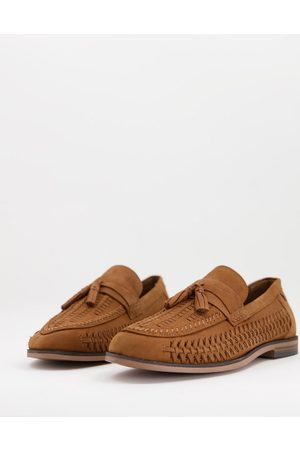 River Island Woven tassel loafers in brown