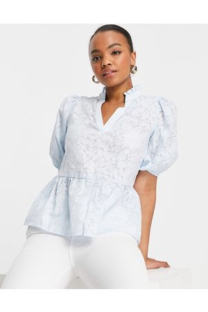 SELECTED Femme blouse with puff sleeve in light blue-Grey
