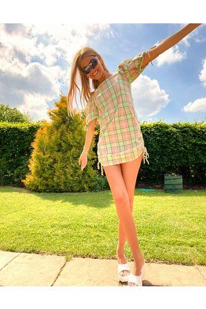 The Ragged Priest Check cold shoulder mini dress with side ruching-Green